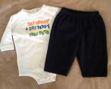 3-6 Month Boys White Bodysuit By Okie-Dokie With Blue Fleece Pants By BabyGap