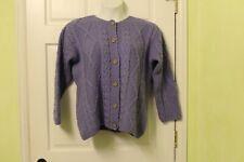 Connemara Knitwear Women Large Lavender Cardigan Sweater Wool Ireland-Irish Knit
