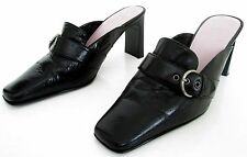 BARRATTS SIZE 3 36 WOMENS BLACK LEATHER SLIP ON MULES COURT SHOES SLIM HEELS