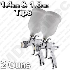 2 x Devilbiss FLG-5 Gravity Spray Paint Guns 1 x 1.4mm & 1 x 1.8mm Tips