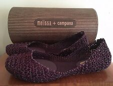 NEW Melissa Campana Shoes Papel IV SP AD Burgundy Glitter Ruby Red Slippers 8