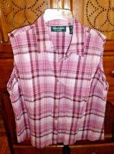 Women's Lemon Grass Studio sleeveless burgundy plaid blouse top 100% cotton XL
