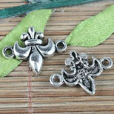 20pcs tibetan silver color French flower connector charms EF0233