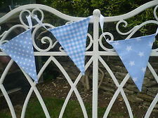 BABY BLUE BUNTING FLAGS - Shooting Stars, Gingham, Spot - 5 Metres