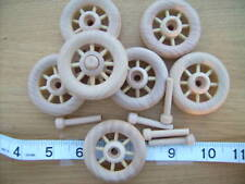 "2x Spoked wooden wheels + axles. 50mm  2"" toys carts"