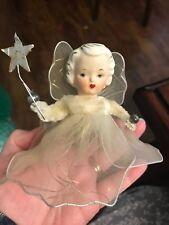 Vintage Miniature Christmas Angel Porcelain head White Netting Japan Label