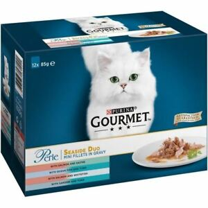 Purina Gourmet Cat Food Seaside Mini FIllets in Gravy Salmon Tun Sardine 12x85g