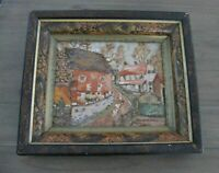 Antique Victorian Deep Well Flame Painted Gesso Picture Frame W/ Rustic Painting