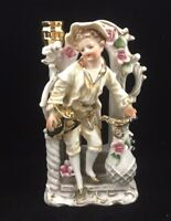 Decorative Vintage Porcelain Hand Painted Boy Figurine with Candle Stick Holder