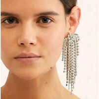 Stunning Major Designer Style Rhinestone Long Embellished Runway Drop Earrings