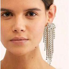 Stunning Major Designer Style Rhinestone Long Embellished Runway Drop Earrings