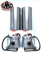 BSA A10 PISTON KITS (2) & CYLINDER SLEEVES (2) Std 70mm 1950-1962 NEW LINERS