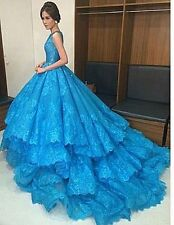 2017 Blue Lace Appliques Ball Gown Evening Dresses Quinceanera Party Prom Custom