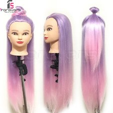 Mannequin Head Hairdressing Colorful Hair Training Styling Dolls Head PurplePink
