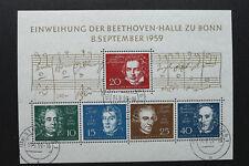 Briefmarken BRD Block 2 Einweihung der Beethoven Halle Bonn 1959 Nr 315-319