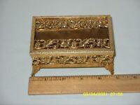 Vintage HOLLYWOOD REGENCY Ormolu Filigree Gold-Tone TISSUE BOX small size