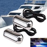 2x 12V LED 50W Underwater PWC Jet Ski Boat Marine Transom Trim Tab Lights Blue