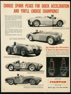 1954 Ferrari Austin Healey Briggs Cunningham race car photo Champion print ad