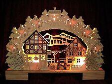 ❀ 3D Schwibbogen Fachwerkhäuser Haus Dorf LED 41cm + Trafo u. Batt. Fensterbogen