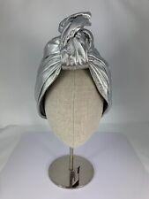 NWT Kokin, Metallic Silver Nappa Leather Twistee Turban, Hair Accessory