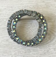 Vtg prong set double blue circle brooch in silver  tone metal with  Crystals.