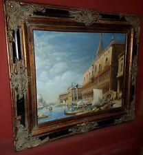 L'été vénitien, beau paysage signée et encadré en bois! Venice. Venise. Vénise.