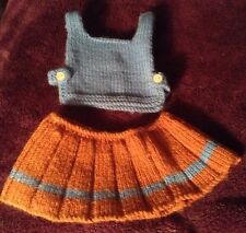 Doll's Hand Knitted Outfit For Small Doll, Tabard And Skirt,