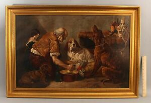 Large Antique Genre Oil Painting, WOUNDED HOUND, Hunting Dog Aft Richard Ansdell