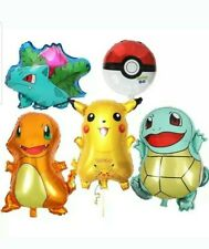 5pcs Large Pokemon, Pikachu & Friends Birthday Party Balloons, pokeball sphere.