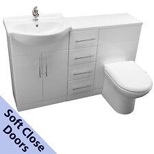 BATHROOM VANITY SINK CABINET WHITE 55cm, WC TOILET 4 DRAWER UNIT BASIN TAP WASTE