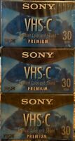 Lot of 3 Sony 30 Minute VHS-C Tapes TC-30VHGL Premium Grade NEW Factory Sealed