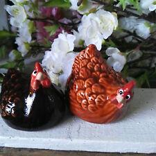 2 x Huhn Hühner Figur Braun Statue Ton Glasiert Ostern Henne Osterdeko Dekofigur
