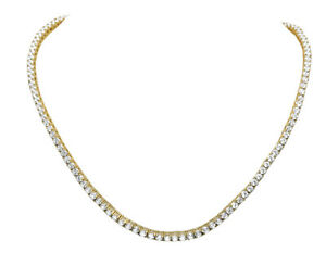 Mens Yellow Gold Sterling Silver Lab Diamond 1 Row Tennis Chain Necklace 3MM 32""
