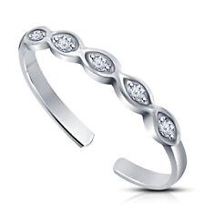 Round Cut Vvs1 Diamond Infinity Womens Adjustable Toe Ring 14K White Gold Over