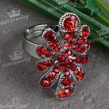 Red Faceted Flower Crystal Glass Bead Adjust Metal Cocktail Finger Ring Women
