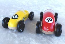 """Vintage Vilac Toy Roadsters (2) Wooden 4"""" X 2"""" Yellow #16 Red #10"""