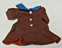 Vintage Authentic 1957 Vogue Ideal JILL Ginny Doll Dress Brown Blue Coat Dress
