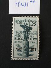 TRIESTE 1954 ESPERIMENTO POSTA AEREA MNH°°