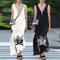 Summer Womens V Neck Beach Sleeveless Party Long Maxi Sundress Dress Plus Size