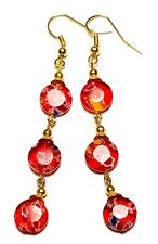 Very Long Gold Red Millefiori Earrings Glass Bead Drop Dangle Pierced Hook