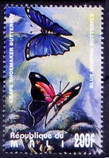 Mali 1995 MNH, Blue Morpho & Grape Shoemaker Butterflies, Insects