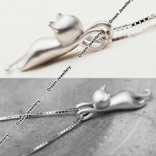 Xmas Gifts for Her Daughter Girls Cat Necklace 925 Silver Chain Mum Presents US1