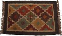 Indian Hand loomed Kilim Rug Jute Carpet Boho Ethnic Handcrafted Throw Area Rug