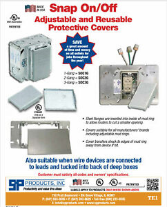 ***SUPER SALE*** 5-PACK - SP PRODUCTS REUSEABLE 2 GANG ELECTRICAL SNAP-ON COVERS