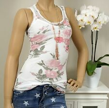 Top 2tlg Shirt Sequins Flowers Mesh Fabric White Pink Rose Gypsy 34 36 Boho