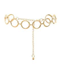 Fashion Womens Full Circle Metal Wide Chain Belt Waist Dress Adjusted Waistband