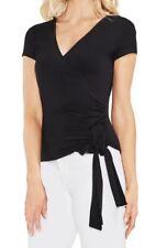 Vince Camuto Women's Blouse Black Size XXS Knit Faux Wrap Short Sleeve $59 #041