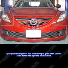 Fits 2009-2010 Mazda 6 Upper Lower Bumper and Fog Light Billet Grille Combo