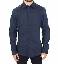 NWT ERMANNO SCERVINO Blue Stretch Cotton Casual Long Sleeve Shirt IT50 / L