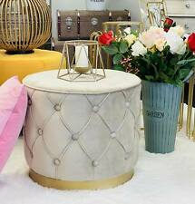 Foot Stools Ottomans with Gold Metal Bases 48*48*41 (Velvet Beige)